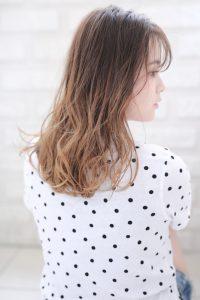 【HAPPINESS 河原町 世紀】髪型 モテ可愛いシースルーバングミディ SK-148