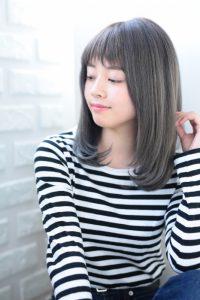 【HAPPINESS 河原町 世紀】髪型 モテ愛されワンカールストレート ペールグレージュ SK-125