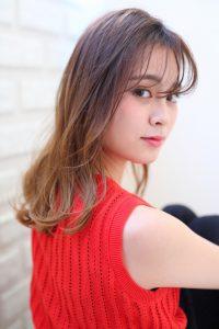 【HAPPINESS 河原町 世紀】髪型 大人かわいい小顔シースルーバング キャメルベージュ SK-136
